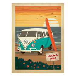 Anderson Design Group - Coastal Collection: Locals Only VW Surf Van Gallery Print - The Coastal Collection is breezy, casual, whimsical and nostalgic. Inspired by vintage nautical travel posters, we've set out to create a collection of brand new designs that will make you as happy as if you were sitting on the coast. Printed on gallery-grade matte-finished paper, this print is sure to add a breezy, nostalgic charm to any home or office wall. Original, hand-illustrated design from Anderson Design Group in Nashville, TN.