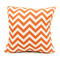 Majestic Home - Outdoor Burnt Orange Chevron Large Pillow - Add a splash of color and a little texture to any environment with these great indoor/outdoor plush pillows by Majestic Home Goods. The Majestic Home Goods Large Pillow will add additional comfort to your living room sofa or your outdoor patio. Whether you are using them as decor throw pillows or simply for support, Majestic Home Goods Large Pillows are the perfect addition to your home. These throw pillows are woven from Outdoor Treated polyester with up to 1000 hours of U.V. protection, and filled with Super Loft recycled Polyester Fiber Fill for a comfortable but durable look. Spot clean only.