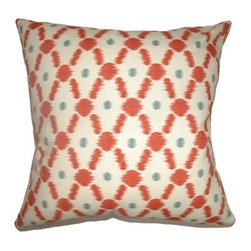 "The Pillow Collection - Farlow Link Pillow Poppy Red 20"" x 20"" - This playful throw pillow is a perfect accent piece for your room. The decor pillow features a link print pattern combined with vivid colors of Poppy Red in white, blue and red. This contemporary pillow is stylish and upbeat, which makes it an ideal accent piece in your home design. This square pillow is made from 100% cotton fabric. Hidden zipper closure for easy cover removal.  Knife edge finish on all four sides.  Reversible pillow with the same fabric on the back side.  Spot cleaning suggested."