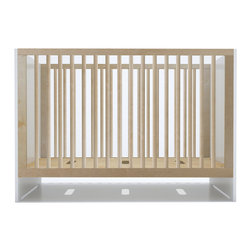 Spot on Square - Oliv Crib - Birch and White - Spot on Square - The Oliv Crib is modestly modern offering high quality craftmanship with an equally modest price tag. The Oliv crib brings a clean modern aesthetic with a touch of warmth through the contrast of birch on white. Made from sustainably harvested solid birch, birch plywood and green grade MDF. Three adjustable positions for the mattress platform allow you to adjust the height to grow with your baby. Toddler daybed conversion available.