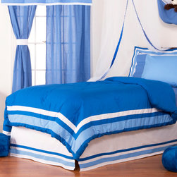 Simplicity Blue - Full Comforter - Comforter comes a beautifully framed design in shades of dark blue, light blue and white.  Opposite side is in solid darker blue.  All in cotton print fabric.
