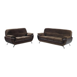 Global Furniture USA - U4160 Dark Brown Fabric & Dark Brown Vinyl Three Piece Sofa Set - The U4160 sofa set will add a stylish modern look to any decor it's placed in. This sofa set comes upholstered in a beautiful dark brown champion fabric on the seating area. The fabric is very plush and soft to the touch. On the back and sides the sofa set is upholstered in a dark brown vinyl material. High density foam is placed within the cushions for added comfort. Each piece features a two-tone layered design that adds to the overall look. The price shown includes a sofa, loveseat, and chair only.