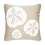 Wabisabi Green - Sand Dollar Outdoor Eco Pillow, Shell White/Papyrus, Shell White/Papyrus, 18x18, - Simple white sand dollars on a sandy-colored background capture the relaxed, natural beauty of the beach. This hand-printed throw pillow is not only ecofriendly but is also outdoor-safe, making it a perfect accent for your deck or poolside decor.