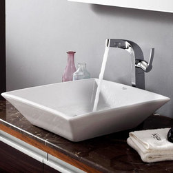 Kraus - Kraus Bathroom Combo Set White Square Ceramic Sink/Typhon Faucet - Add a touch of elegance to your bathroom with a ceramic sink combo from Kraus Stylish ceramic sink and Typhon vessel faucet will complement any bathroom decor Exquisite Collection
