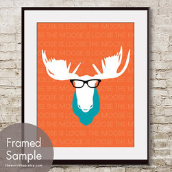 The Moose Is Loose Print By THE WORD SHOP - Add a pop of color with this fabulous moose silhouette. I am thinking this would be great against cool gray walls.
