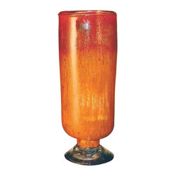 "Couleur - Orange Glow Short Glass Cylinder - Handcrafted by artisan glass blowers the Orange Glow Short Glass Cylinder is a wonderfully decorative and functional art glass accessory.  Because this is made of hand blown glass measurements are approximate - Each item will vary slightly in size and color.Specifications Dimensions: Are approximate because of the handmade nature of this product. (diameter x height) Overall: D 6"" x H 16"" (approximately)Made in: Mexico (MEX)  Style: Room: Living Room, Dining Room, OfficeUse: Decoration Only - Home Accent, Table Top Decor, Wall Decor, Shelf DecorIndoor / Outdoor: IndoorCare: Wipe clean with a soft damp cloth."