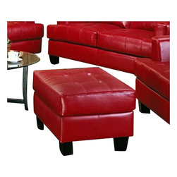 Coaster - Coaster Samuel Modern Tufted Square Ottoman in Red Bonded Leather - Coaster - Ottomans - 501834 - The Samuel group will give your contemporary living room a stylish update. The pieces are crafted of sophisticated bonded leather, over a solid hardwood frame with webbed backs and sinuous spring bases for support and durability. These pieces feature plush tufted attached back cushions, and deep t-cushions on the seat for cool comfort. Sleek track arms and square tapered wood legs complete the look. Available in These simple pieces are easy to blend with your home decor, and will help you create the comfortable contemporary style you desire.