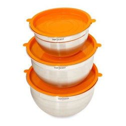Top Chef - Top Chef Stainless Steel Mixing Bowls with Lids (Set of 3) - Prepare meals like a Top Chef using tools showcased on the Award Winning Bravo TV Show. Each bowl features a non-slip silicone base to keep it from moving or tipping.