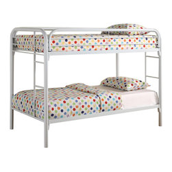 Adarn Inc - 4 Colors Metal Fordham Twin Bunk Bed w/ Built-In Ladders Full Length Guard Rails - The fun space saving design of this twin bunk bed will make a wonderful addition to your child's bedroom. Built-in ladders on each side offer convenience, while full length guard rails provide security. The high gloss finishes are available in black, blue, red, and white, allowing you to create the perfect look for your child's room.