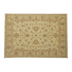 Area Rug, 100% Wool 5'X7' Oushak Beige Hand Knotted Vegetable Dyes Rug SH8042 - Hand Knotted Oushak & Peshawar Rugs are highly demanded by interior designers.  They are known for their soft & subtle appearance.  They are composed of 100% hand spun wool as well as natural & vegetable dyes. The whole color concept of these rugs is earth tones.