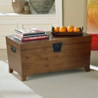 Holly & Martin - Holly & Martin Dorset Trunk Cocktail Table in - This table solves the mystery of where to store those extra magazines or a blanket for those chilly nights watching a movie. Spacious inside with plenty of room on top, this cocktail table is as functional as furniture gets. * Combination of contemporary style and usefulness. This wooden trunk will not only help you organize your living room by giving you extra storage, but also look great. Black metal handles complete this simple design. Assembly: Required. Material of construction: MDF. 37.75 in. W x 17.25 in. H x 20.5 in. D