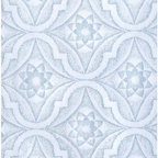 Renovators Supply - Wallpapers White/Blue Textured Vinyl Embossed Star Wallpaper | 99858 - Wallpaper. This vinyl wallpaper features beautiful Victorian style embossed STAR motif print. Easy to maintain it is scrubbable- strippable and peelable. This wallpaper is NOT pre-pasted and requires a good quality heavy duty adhesive paste- sold separately. This wallpaper has paper backing. Installation instructions are included. Packaged as a double roll you benefit from longer continuous lengths of usable paper at a great value. Measures 11 yards x 20 1/2 in. W for 56 square feet of usable paper. Vertical repeat is 5 1/4 in. up and down. Horizontal repeat is 5 1/4 in. across.