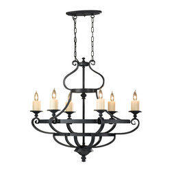 Murray Feiss - Murray Feiss F2517/6AF King's Table 6 Bulb Antique Forged Iron Chandelier - Murray Feiss F2517/6AF King's Table 6 Bulb Antique Forged Iron Chandelier