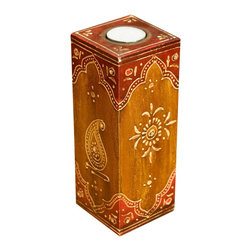 "Sierra Living Concepts - Traditional Hand Painted Wooden Votive Candle Holder - Infuse the spirit of the orient into your home with this unique traditional hand painted solid hardwood votive candle holder.  The rectangular 8"" pillar style candle platform holds a single candle and is perfect for room accents or classic dining.  The candle holder is hand crafted from solid mango wood, a tropical hardwood grown as a sustainable crop. The sides and top feature hand painted designs in red and gold.  Note the small glass embellishments on the corners."