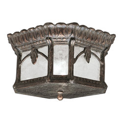 Kichler 2-Light Outdoor Fixture - Londonderry Exterior - Two Light Outdoor Fixture. With its heavy textures, dark tones, and fine attention to detail, the Tournai collection stands out from other outdoor fixtures. Each piece is hand-made from cast aluminum, offering quality construction that is sure to withstand even the harshest of weather conditions. Our exclusive Londonderry finish and clear seedy glass panels give the piece its unique, aged look. The slimmer, Tournai outdoor flush ceiling mount fixture captures the look and feel of larger pieces in a more compact package. Its two-light design uses 60-watt bulbs, is 7 high, and is UL listed for damp location allowing you to install it just about anywhere outside of your home.