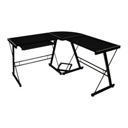 Walker Edison - 3 Pc Corner Computer Desk w Black Glass and Metal Frame - Create a larger workspace with this three-piece computer desk. The corner design includes two glass-topped units with one pullout keyboard tray. A CPU holder will keep equipment off the floor for easier access. Tempered black glass matches the modern steel frame. Stylish modern design. Polished and beveled tempered safety glass. Durable steel frame with a black finish. Space saving L-Shape design. Universal autonomous CPU stand. Sliding keyboard tray. All glass is 6mm thick. A Walker Edison furniture design. Ships ready-to-assemble with all necessary tools. Assembly instructions plus toll-free number and online support available. Made of tempered safety glass, steel. 51 in. W x 51 in. L x 29 in. HThis contemporary desk offers a sleek modern design crafted with durable steel and thick tempered safety glass. The L-shape provides a corner wedge for more space and the design creates a look that is both attractive and simple. Flexible configuration options allow you to mount the keyboard tray on either side of the desk. Also included are a universal autonomous CPU stand and a sliding keyboard tray.  This desk compliments any room and is a great addition to any home office.