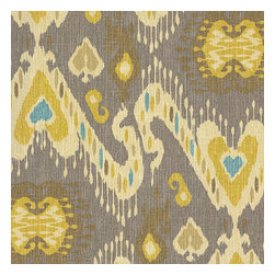 Gray, Yellow & Aqua Ikat Fabric - Colorful eclectic ikat cotton print in lilac with touches of mint, orange, & beige.Recover your chair. Upholster a wall. Create a framed piece of art. Sew your own home accent. Whatever your decorating project, Loom's gorgeous, designer fabrics by the yard are up to the challenge!
