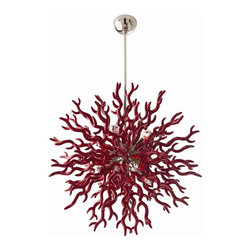 Arteriors Diallo Red Lacquer Chandelier - Coral inspired, the large 8 light red lacquered resin chandelier, is a dramatic as it is unique. The polished nickel center sphere gives it just the right amount of bling. Shown with silver bowl globe bulbs. Additional pipe available for large size. Available in small or large