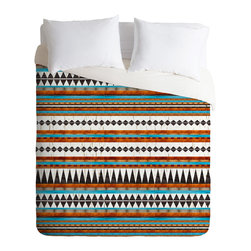 DENY Designs - Iveta Abolina Brown Teal Navajo Duvet Cover - Turn your basic, boring down comforter into the super stylish focal point of your bedroom. Our Luxe Duvet is made from a heavy-weight luxurious woven polyester with a 50% cotton/50% polyester cream bottom. It also includes a hidden zipper with interior corner ties to secure your comforter. it's comfy, fade-resistant, and custom printed for each and every customer.