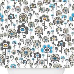 DENY Designs - DENY Designs Gabriela Larios Turtles And Flowers Shower Curtain - Bath time starting to feel a little blah? Give your shower a playful pop with the Gabriela Larios Turtle And Flowers Shower Curtain from DENY Designs. Made from machine-washable polyester, this whimsical shower curtain features a white background with cartoon-inspired turtles and flowers in gray, blue, and golden yellow. The perfect addition to a child's bathroom. Scrub a dub dub!Artist: Gabriela LariosA portion of proceeds go directly to the artistsButtonhole openings; shower rings are not includedMade in the USA