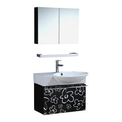 """Legion Furniture - 30 Inch Modern Single Sink Bathroom Vanity - This 30 inch wall mount single sink bathroom vanity is a perfect center piece for your bathroom project. This Black & White bathroom vanity features 2 doors and a White ceramic counter top with integrated sink that is pre-drilled for a single hole faucet (faucet not included). Large opening in back for easy plumbing installation. Mirror NOT included.  Dimensions: 30""""W  X 19.3""""D X 34""""H (Tolerance: +/- 1/4""""); Counter Top: White Ceramic; Finish: Black and White; Features: 2 Doors; Hardware: Chrome; Sink(s): 25"""" Integrated White Ceramic; Faucet:  Pre-Drilled for Single Hole (Not Included); Assembly: Assembly Required; Large cut out in back for plumbing; Included: Cabinet, Sink; Not Included: Faucet, Backsplash, Mirror (25.2"""" X  19.7"""")."""