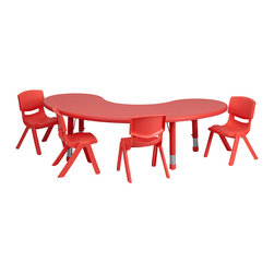 Flash Furniture - Flash Furniture 35 x 65 Adjustable Half-Moon Red Plastic Activity Table Set w/ 4 - This table set is excellent for early childhood development. Primary colors make learning and play time exciting when several colors are arranged in the classroom. The durable table features a plastic top with steel welding underneath along with height adjustable legs. The chair has been properly designed to fit young children to develop proper sitting habits that will last a lifetime. [YU-YCX-0043-2-MOON-TBL-RED-E-GG]