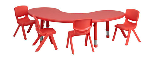 Flash Furniture - Flash Furniture 35 x 65 Adjustable Half-Moon Red Plastic Activity Table Set - This table set is excellent for early childhood development. Primary colors make learning and play time exciting when several colors are arranged in the classroom. The durable table features a plastic top with steel welding underneath along with height adjustable legs. The chair has been properly designed to fit young children to develop proper sitting habits that will last a lifetime. [YU-YCX-0043-2-MOON-TBL-RED-E-GG]