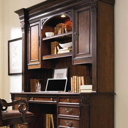 Hooker Furniture - European Renaissance II Computer Credenza - Optional hutch. Traditional style. Made from hardwood solids with cherry and myrtle burl veneersComputer Credenza:. Center drawer with drop-front for keyboard. Power bar in top with two grounded electrical outlets on top and one on bottom for phone jack, high speed data ports, and USB upstream and downstream. Left pedestal with one drawer with Pendaflex letter and legal filing system. One box drawer with removable dividers. One box drawer with pencil tray and writing insert. Pedestal lock. Right pedestal with one box drawer with pencil tray and writing insert. One door opening to reveal one adjustable shelf and printer pullout on metal ball bearing slides. Levelers. Distance from shelf to front of base width: 13.25 in.. Keyboard drawer: 25.5 in. W x 13.5 in. D x 2.63 in. H. File drawer: 15.63 in. W x 17.25 in. D x 9.38 in. H. LSF second row drawer: 15.63 in. W x 20 in. D x 4.5 in. H. LSF and RSF top drawers: 15.88 in. W x 20 in. D x 3.38 in. H. Printer area: 19.44 in. W x 17.44 in. D x 16.06 in. H. Printer area maximum inside height: 17.31 in.. Kneehole shelf: 28.25 in. L x 10 in. W. Kneehole space: 28 in. W x 22.38 in. D x 24.13 in. H. Overall: 76.5 in. W x 26.25 in. D x 30.75 in. HHutch:. Stained top. One canister light operated by three-intensity touch switch. Two doors. One adjustable shelf. One stationary shelf and charging station behind left door. Two adjustable shelves behind right door. One wood-framed adjustable glass shelf. One stationary shelf in center. Task light. Center monitor area: 30 in. W x 12.06 in. D x 22 in. H. Center opening: 30 in. L x 12.25 in. W x 25.5 in. H. Door opening: 20 in. L x 12 in. W x 30 in. H. Doors: 15.13 in. W x 30.25 in. H. Thickness: 1.5 in.. Glass insert: 26.88 in. L x 8.63 in. W. Thickness: 0.25 in.. Shelf inside doors: 19.38 in. L x 11 in. W. Thickness: 0.63 in.. Side monitor area: 16.06 in. W x 12.06 in. D x 16.5 in. H. Top center shelf frame: 29.75 in. L x 12.13 in. W. Thickness: 1.5 in.. Overall: 79.75 in. W x 19.25 in. D x 59.75 in. H