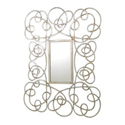 Whimsical Mirror, Silver Leaf - This joyful and whimsical mirror adds an expressive moment to any space. It is comprised of a hand-wrought, iron strap frame with gold or silver metal leaf finish that hangs on a cleat system horizontally or vertically.
