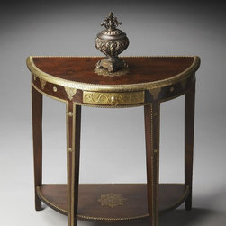 Butler - Butler Artifacts Demilune Console Table - This magnificent demilune features intricately hand-applied gold foil on legs  base and top  covering the entire drawer front. Note also the stunning lotus leaf on the tabletop. Crafted from mango wood solids in the Espresso finish.