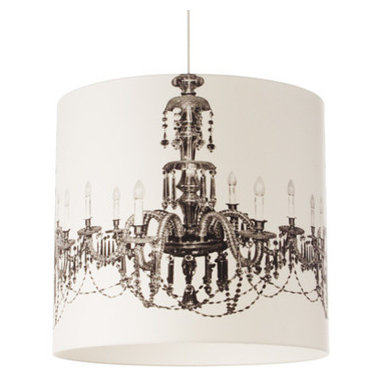 Chandelier by Brunklaus Amsterdam - Chandelier lamp has the image of an 18th century crystal chandelier turning this into an ecletic design. Features an inner polyvinyl inside silk screend with the image and 100 percent cotton shintz on the outside around a steel wire frame. Available in 15, 20 and 40 inch diameters. Light fiting, black cord and ceiling cap included. One 75 watt, 120 volt, A19, medium base incedescent lamp not included. General light distribution. 19.6W x 18.8H.