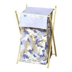 "Sweet Jojo Designs - Blue Camouflage Hamper - The Blue Camouflage Hamper by Sweet Jojo Designs will add a designers touch to any childs room. This childrens laundry clothes hamper has a wooden frame, mesh liner, and a fabric cover.The removable hamper body is secured to the wooden frame with corner loops and Velcro. The wooden stand folds flat for space-saving storage and the removable mesh liner is great for toting laundry.Dimensions: 15.5"" Length x 16"" Width x 26.5"" Height.If you like the Blue Camouflage Hamper Hamper, dont forget to check out the other items in the collection."
