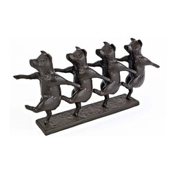 EttansPalace - Pig Dancers Bronze Finish Statue Sculpture Figurine - by artist Alison Hollow; With flying hooves and corkscrew tails, this contemporary tongue-in-cheek pig sculpture is sure to dance its way into your heart - and your decor! Our is humorously sculpted and meticulously cast in heavyweight cast iron with a bronze finish.