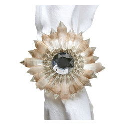 Etoile Napkin Ring - Inspired by the fine dining appurtenances found in the eateries of France, the Etoile Napkin Ring brings a kaleidoscopic beauty to your tablescape. An amalgam of delicate beige and silver tones create the allure of a rare mineral that boasts an organic perfection. Placed around white or vividly colored napkins, the Etoile Ring is a most distinctive accent for your fine table linens.