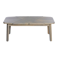 Debra Folz Design - Wrap Coffee Table, Ash with Gray Stain - Wrap coffee tables explore a textile language of wrapped surfaces by overlapping wood grains in opposing directions, creating a soft and sculptural composition. Thoughtfully crafted in the United States. This item ships flat.