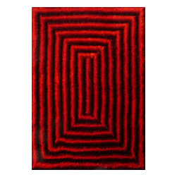 Rug - ~5 ft. x 7 ft. 3-D Shaggy Black with Red Living Room Hand-tufted Area Rug - 3D SHAG COLLECTION