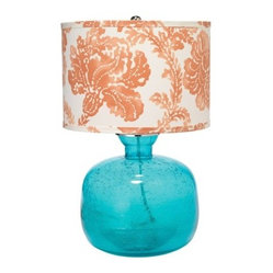 Jamie Young Lighting Table Lamp Base Jug, Aqua with Washed Coral Drum Shade