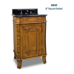 "Hardware Resources - Elements Bathroom Vanity - This 24"" wide MDF vanity features curved lattice like carvings and a toffee finish to give it an Art Deco appeal. Its compact size makes it an ideal alternative to a pedestal sink. A large cabinet provides ample storage. This vanity has a 2CM black granite top preassembled with an H8809WH (15"" x 12"") bowl, cut for 8"" faucet spread, and corresponding 2CM x 4"" tall backsplash. Overall Measurements: 24"" x 20-3/4"" x 36-1/4"" (measurements taken from the widest point) - Faucet must be purchased separately"
