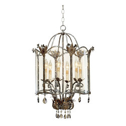 """Currey and Company - Traditional Currey and Company Zara Large Foyer Pendant - The Zara pendant chandelier is part of the Winterthur Archive Collection which was inspired by European country designs from the 18th and 19th Centuries. The frame gets a combination silver and gold finish. Large seeded glass panels are illuminated by six candelabra fixtures while smoked crystal drops further decorate the opulent look. From Currey & Company. Viejo gold and silver finish. Seeded glass. Smoked crystal. Takes six 60 watt candelabra bulbs (not included). 30"""" high 20"""" wide. Includes 16 feet of lead wire 3 feet of chain. Hang weight 20lbs.  Viejo gold and silver finish.   Seeded glass.   Smoked crystal.   30"""" high.  20"""" wide.   Takes six 60 watt candelabra bulbs (not included).  Includes 16 feet of lead wire 3 feet of chain.   Hang weight 20lbs."""