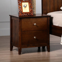 None - Walnut Catalina 2-drawer Nightstand - This beautiful Catalina nightstand will complement any bedroom. A smooth finish and clean lines highlights this simple yet stylish nightstand.