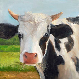 Oil Paintings by Cheri - Cow Print, Handel,Holstein, Black and White Cow, Stretched Canvas Giclee Print - 24x24 Stretched Canvas Giclee Print