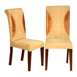 Sierra Living Concepts - Leather & Solid Wood Straight Back Parson Dining Chair Set of 2 - Note: This price is for set of 2