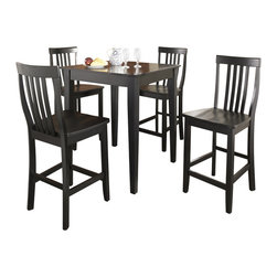 Crosley Furniture - 5 Pc Pub Dining Set w School House Stools in - Includes Pub Table and 4 Stools in Black. Solid Hardwood & Veneer Construction Table . Solid Hardwood Stools. Hand Rubbed, Multi-Step Finish. Solid Hardwood Tapered Legs. Shaped Back for Comfort. Table Dimensions: 36 in. H x 32 in. W x 32 in. D. Stool Dimensions: 40 in. H x 18.5 in. W x 22.5 in. DConstucted of solid hardwood and wood veneers, the 5 piece Pub / High Dining set is built to last. Whether you are looking for dining for four, or just a great addition to the basement or bar area, this set is sure to add a touch of style to any area of your home.