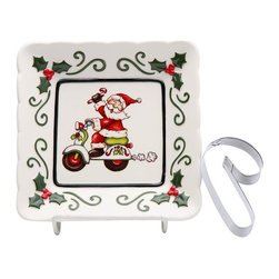 Cosmos - 5.5 Inch Santa On Scooter Plate and Ginger Bread Man Cookie Cutter - This gorgeous 5.5 Inch Santa On Scooter Plate and Ginger Bread Man Cookie Cutter has the finest details and highest quality you will find anywhere! 5.5 Inch Santa On Scooter Plate and Ginger Bread Man Cookie Cutter is truly remarkable.