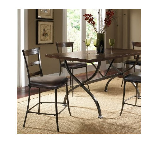 Hillsdale Cameron 5 Piece Counter Height Rectangle Wood Dining Table Set with La - The metal trestle base and X-shaped legs on the table of the Hillsdale Cameron 5 pc. Counter Height Rectangle Wood Dining Table Set with Ladder Back Chairs provide a sleek modern update to a traditional trestle table design. The dark gray metal perfectly complements the chestnut brown finish of the table's top and the four ladder-back chairs complete this dining set's contemporary look. About Hillsdale FurnitureLocated in Louisville Ky. Hillsdale Furniture is a leader in top-quality affordable bedroom furniture. Since 1994 Hillsdale has combined the talents of nationally recognized designers and globally accredited factories to bring you furniture styling and design from around the globe. Hillsdale combines the best in finishes materials and designs to bring both beauty and value with every piece. The combination of top-quality metal wood stone and leather has given Hillsdale the reputation for leading-edge styling and concepts.