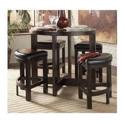 Homelegance - Brussel 5-Pc Counter Height Table Set - Includes table and four stools. Contemporary style. Made from glass and wood. Cherry finish. Table: 40 in. Dia. x 36 in. H. Stool: 26.5 in. L x 18 in. W x 24 in. H