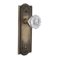 Nostalgic - Nostalgic Privacy-Meadows Plate-Crystal Knob-Antique Brass (NW-701825) - Meadows Plate with Crystal Knob With Keyhole - Privacy