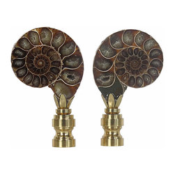 Fossil Finials in Brass Bases - Pair of generously sized ammonite fossil finials set in solid brass bases. Polished face on front, natural pearl opalescent on back. Fits any standard lamp harp.