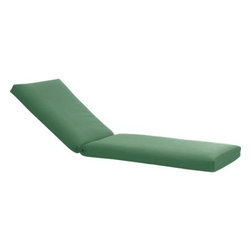 Orleans Sunbrella® Bottle Green Chaise Lounge Chair Cushion - Optional cushion is covered in fade- and weather -resistant Sunbrella® acrylic in bottle green. Fabric tab fasteners hold cushion in place.