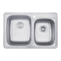 Kraus 33 Inch Topmount 60/40 Double Bowl Stainless Steel Kitchen Sink KTM32 - Add an elegant touch to your kitchen with a unique and versatile topmount, drop-in sink from Kraus
